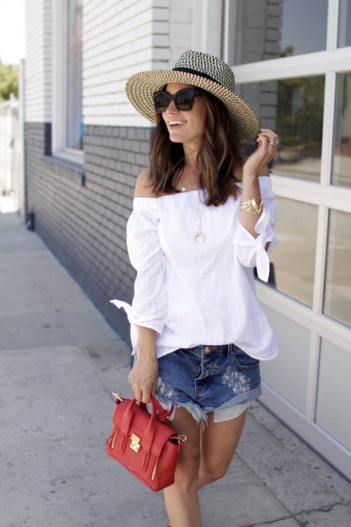 white off the shoulder top, itsy bitsy indulgences