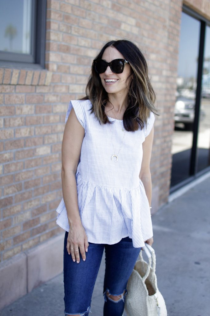 stripe peplum top, itsy bitsy indulgences