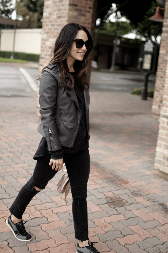 grey leather jacket, itsy bitsy indulgences