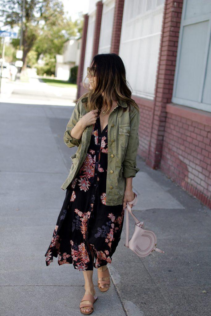 fall floral dress, itsy bitsy indulgences