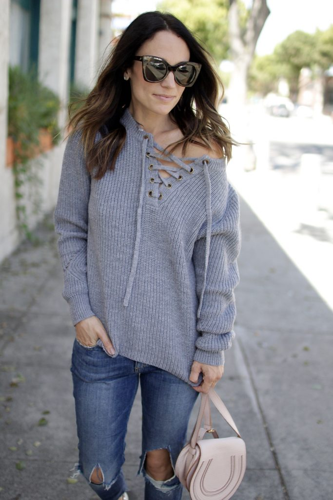 lace-up sweater, itsy bitsy indulgences