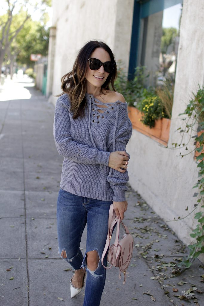 lace up sweater, itsy bitsy indulgences