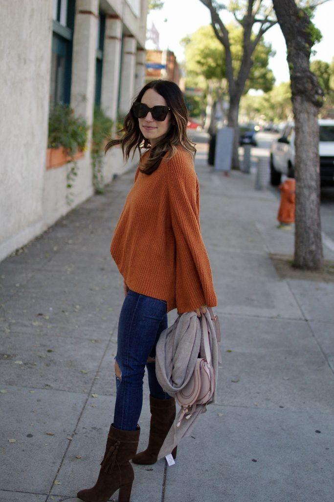 oversized rust sweater, itsy bitsy indulgences