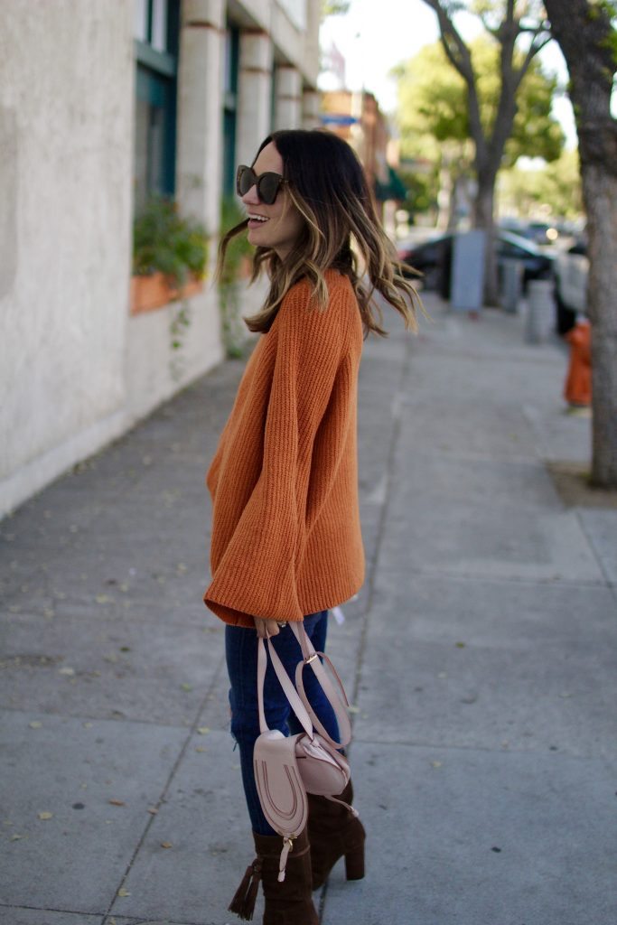 fall bell sleeved sweater, itsy bitsy indulgences