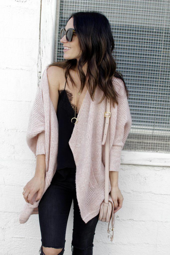 pink chunky knit cardigan, itsy bitsy indulgences