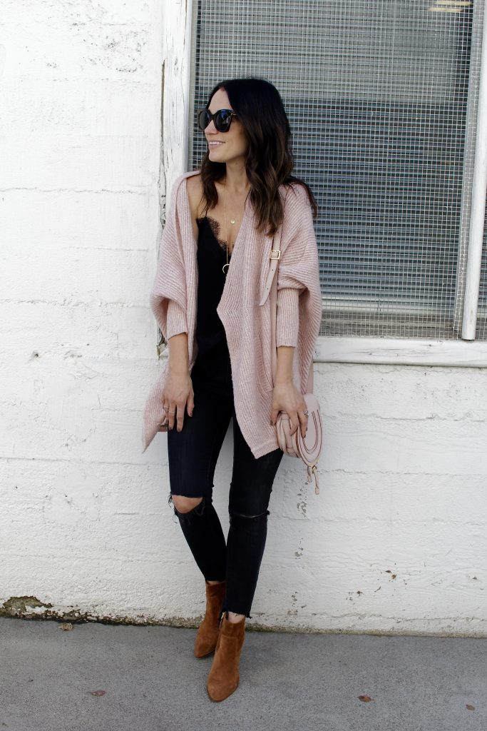 all black with pink cardigan, itsy bitsy indulgences