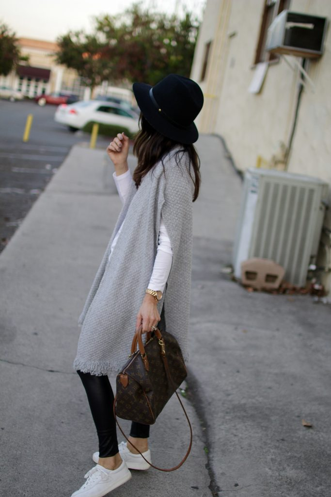 knit poncho _+ leather leggings, itsy bitsy indulgences