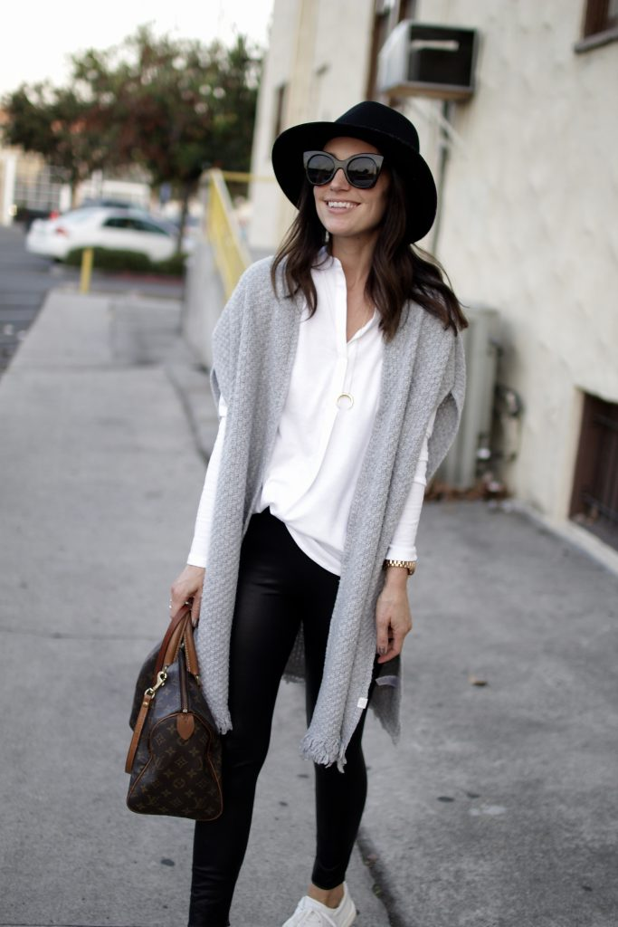 knit poncho + leather leggings, itsy bitsy indulgences