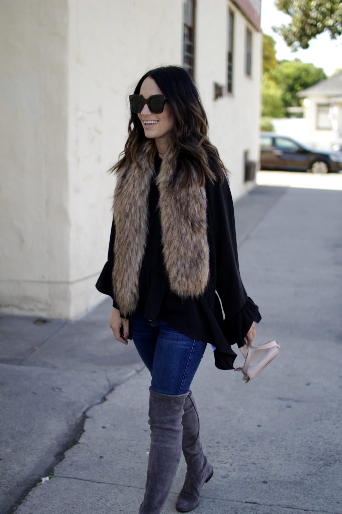 thanksgiving outfit ideas, over the knee boots, itsy bitsy indulgences