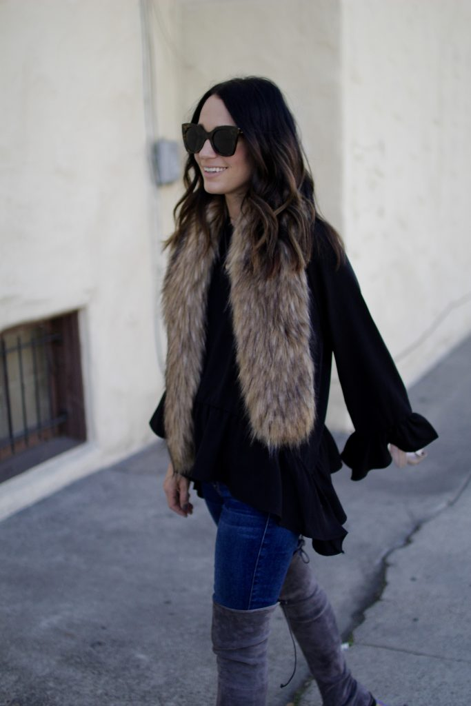Thanksgiving out ideas, faux fur stole, itsy bitsy indulgences