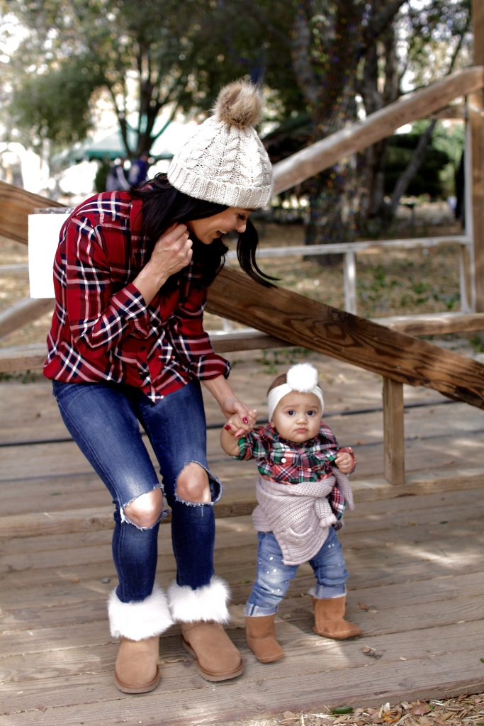 mom and daughter matching plaid, itsy bitsy indulgences