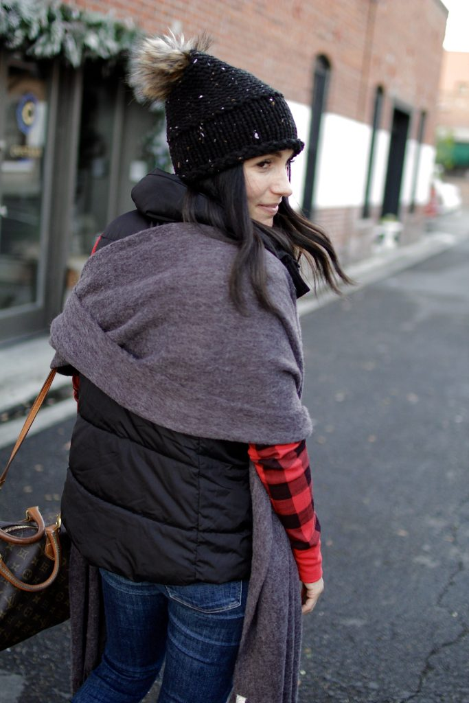 oversized scarf + buffalo check, itsy bitsy indulgences
