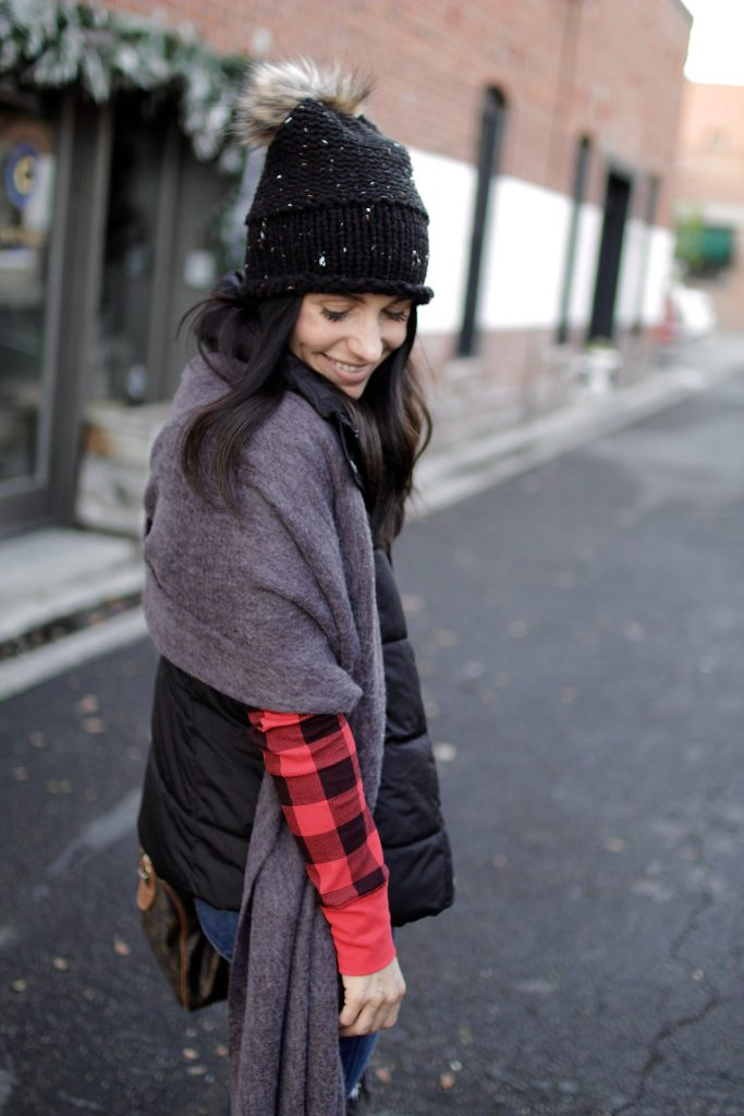 buffalo check layered outfit, itsy bitsy indulgences
