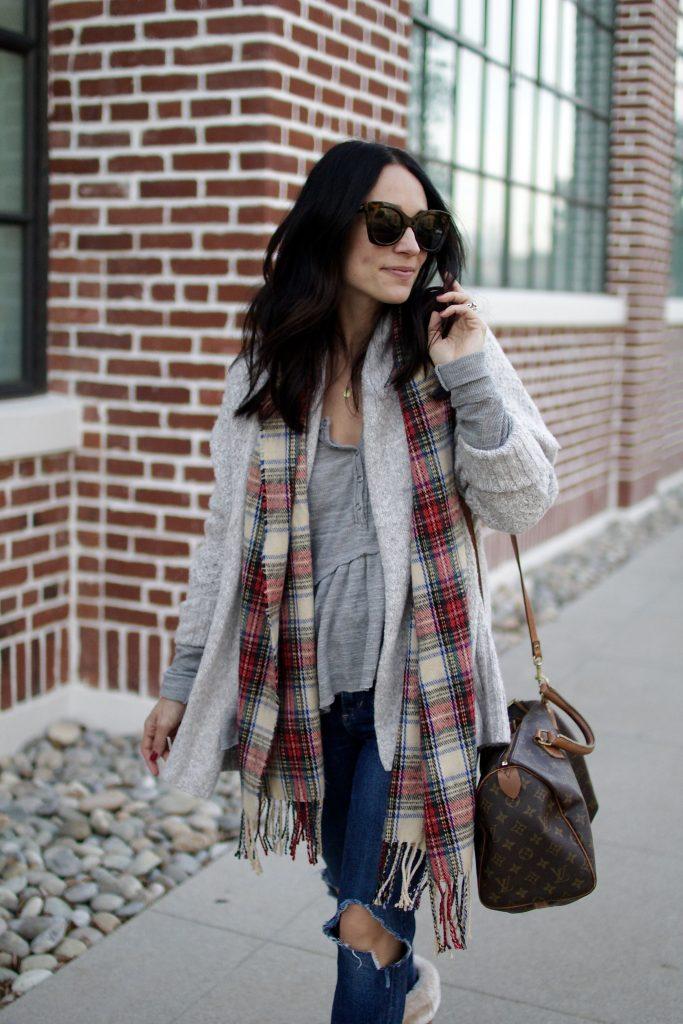 tartan scarf, winter layers, itsy bitsy indulgences